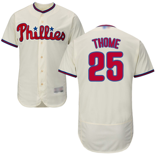 Phillies #25 Jim Thome Cream Flexbase Authentic Collection Stitched Baseball Jersey