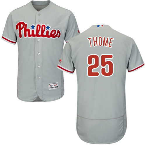 Phillies #25 Jim Thome Grey Flexbase Authentic Collection Stitched Baseball Jersey