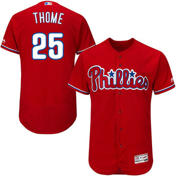 Phillies #25 Jim Thome Red Flexbase Authentic Collection Stitched Baseball Jersey