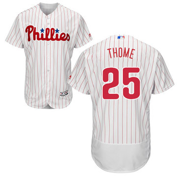 Phillies #25 Jim Thome White(Red Strip) Flexbase Authentic Collection Stitched Baseball Jersey
