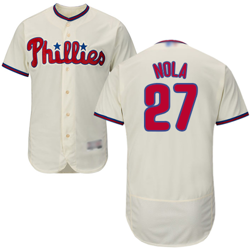Phillies #27 Aaron Nola Cream Flexbase Authentic Collection Stitched Baseball Jersey