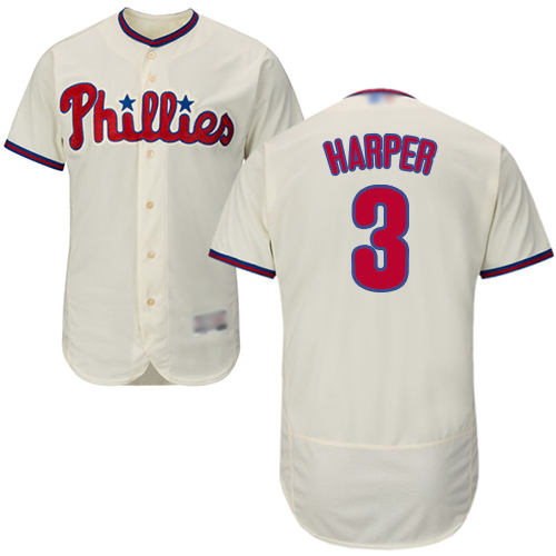 Phillies #3 Bryce Harper Cream Flexbase Authentic Collection Stitched Baseball Jersey