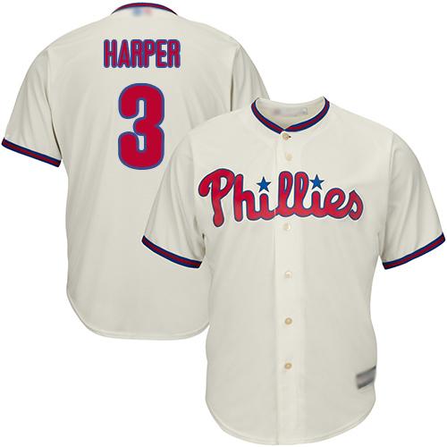 Phillies #3 Bryce Harper Cream New Cool Base Stitched Baseball Jersey