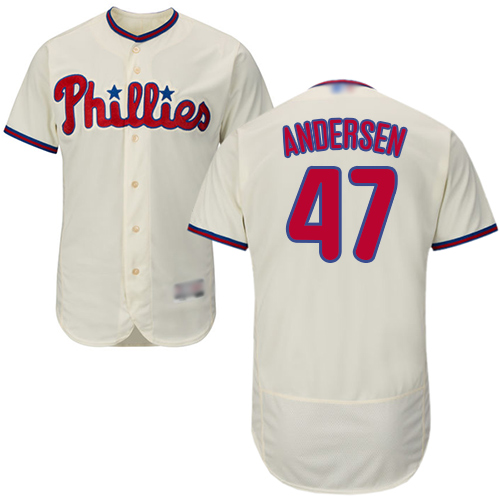 Phillies #47 Larry Andersen Cream Flexbase Authentic Collection Stitched Baseball Jersey