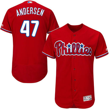Phillies #47 Larry Andersen Red Flexbase Authentic Collection Stitched MLB Jersey