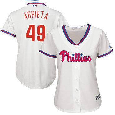 Phillies #49 Jake Arrieta Cream Alternate Women's Stitched MLB Jersey
