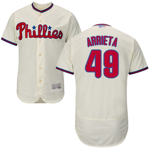 Phillies #49 Jake Arrieta Cream Flexbase Authentic Collection Stitched Baseball Jersey