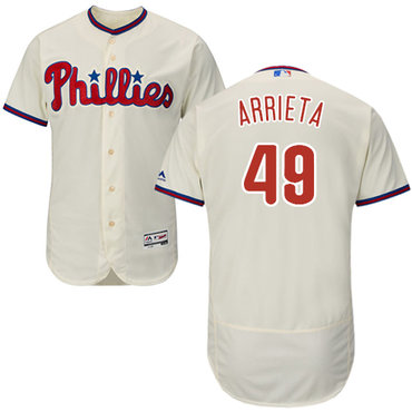 Phillies #49 Jake Arrieta Cream Flexbase Authentic Collection Stitched MLB Jersey