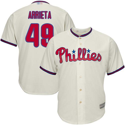 Phillies #49 Jake Arrieta Cream New Cool Base Stitched Baseball Jersey
