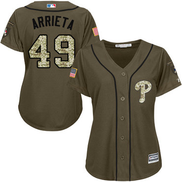 Phillies #49 Jake Arrieta Green Salute to Service Women's Stitched MLB Jersey