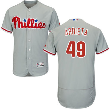 Phillies #49 Jake Arrieta Grey Flexbase Authentic Collection Stitched MLB Jersey