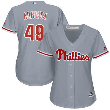 Phillies #49 Jake Arrieta Grey Road Women's Stitched MLB JerseyPhillies #49 Jake Arrieta Grey Road Women's Stitched MLB Jersey$