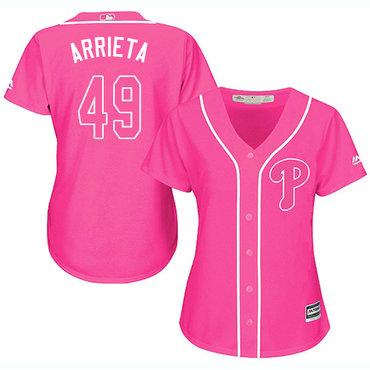Phillies #49 Jake Arrieta Pink Fashion Women's Stitched MLB Jersey
