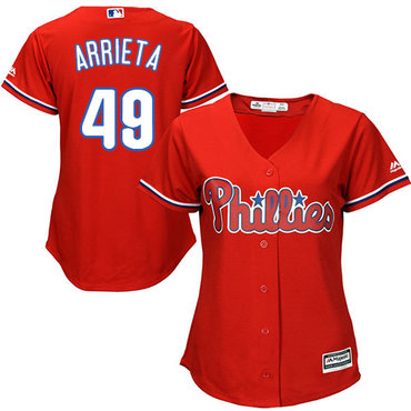 Phillies #49 Jake Arrieta Red Alternate Women's Stitched MLB Jersey