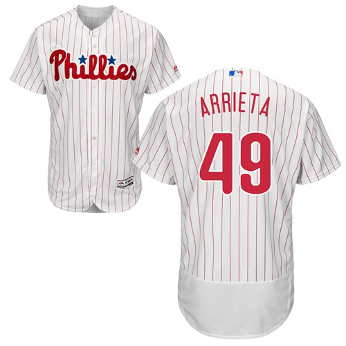 Phillies #49 Jake Arrieta White(Red Strip) Flexbase Authentic Collection Stitched MLB Jersey