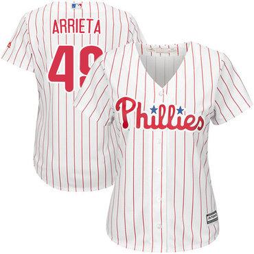 Phillies #49 Jake Arrieta White(Red Strip) Home Women's Stitched MLB Jersey