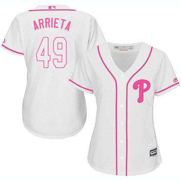 Phillies #49 Jake Arrieta White Pink Fashion Women's Stitched MLB Jersey