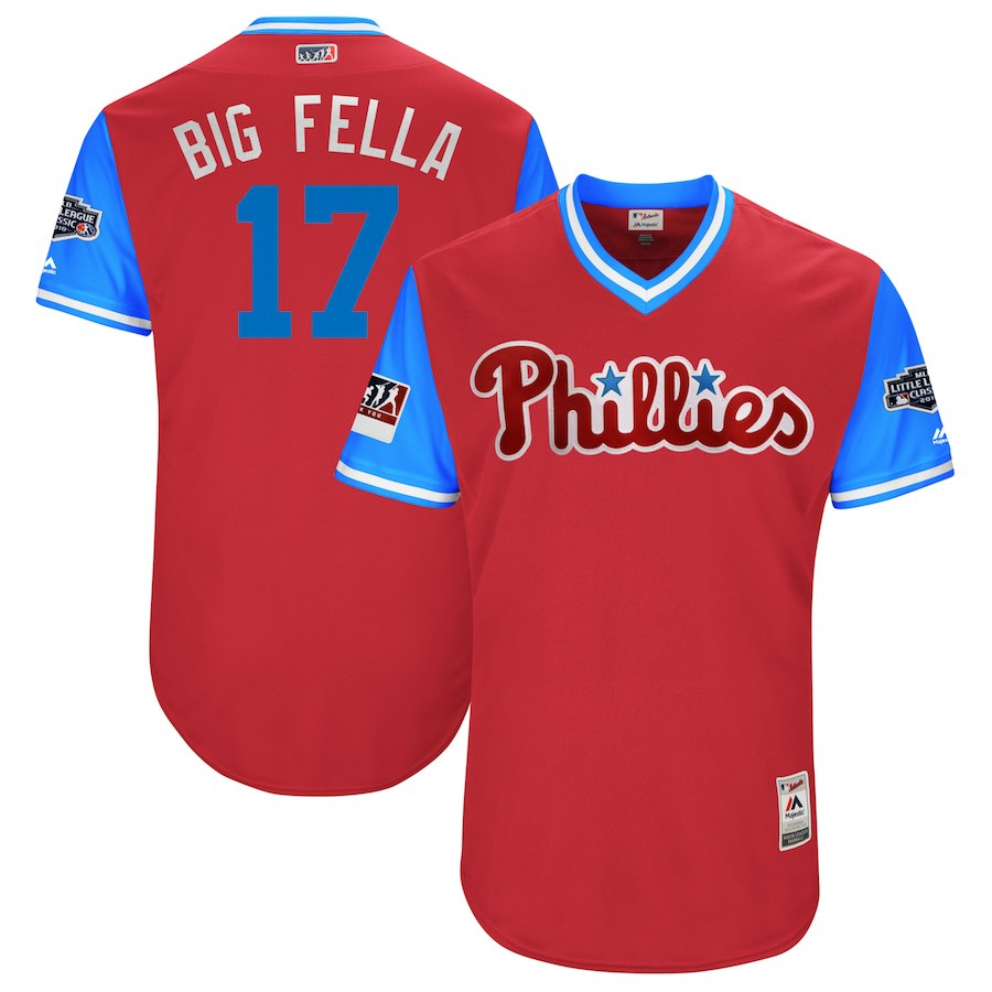 Phillies 17 Rhys Hoskins Big Fella Red 2018 Players' Weekend Authentic Team Jersey