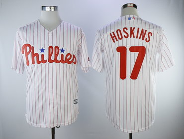Phillies 17 Rhys Hoskins White Cool Base Jersey