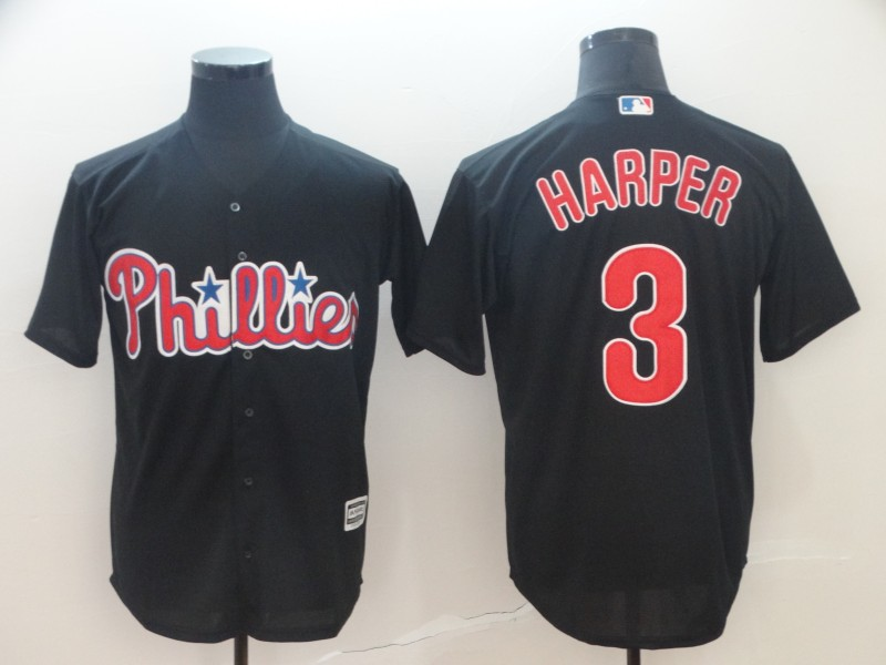 Phillies 3 Bryce Harper Black Cool Base Jersey