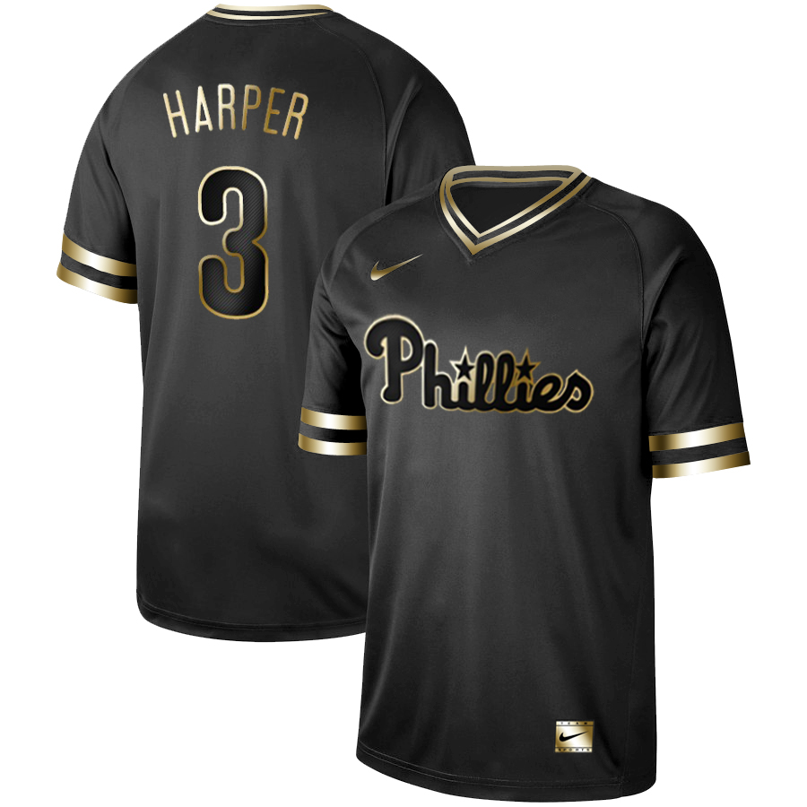 Phillies 3 Bryce Harper Black Gold Nike Cooperstown Collection Legend V Neck Jersey