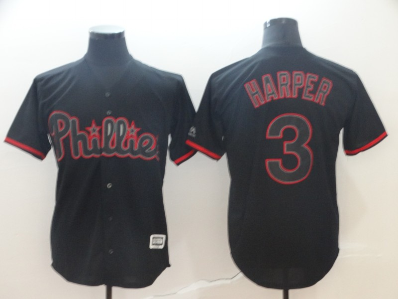 Phillies 3 Bryce Harper Black Shadow Legend Cool Base Jersey