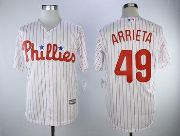 Phillies 49 Jake Arrieta White Cool Base Jersey