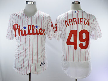 Phillies 49 Jake Arrieta White Flexbase Jersey