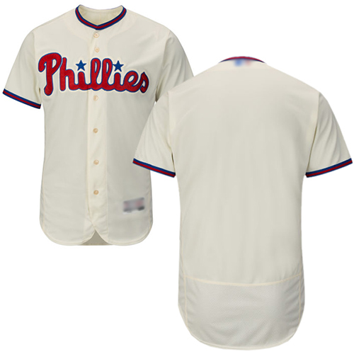 Phillies Blank Cream Flexbase Authentic Collection Stitched Baseball Jersey