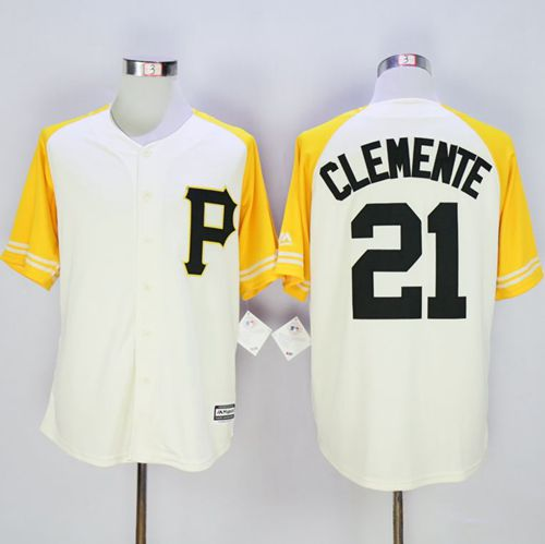 Pirates #21 Roberto Clemente Cream Gold Exclusive New Cool Base Stitched MLB Jersey