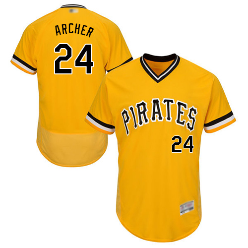 Pirates #24 Chris Archer Gold Flexbase Authentic Collection Stitched Baseball Jersey
