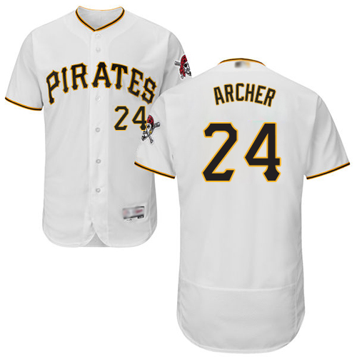 Pirates #24 Chris Archer White Flexbase Authentic Collection Stitched Baseball Jersey