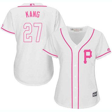 Pirates #27 Jung-ho Kang White Pink Fashion Women's Stitched MLB Jersey