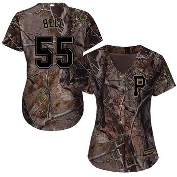 Pirates #55 Josh Bell Camo Realtree Collection Cool Base Women's Stitched Baseball Jersey