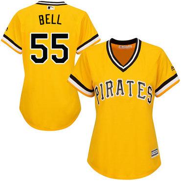 Pirates #55 Josh Bell Gold Alternate Women's Stitched MLB Jersey