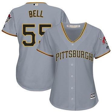 Pirates #55 Josh Bell Grey Road Women's Stitched MLB Jersey