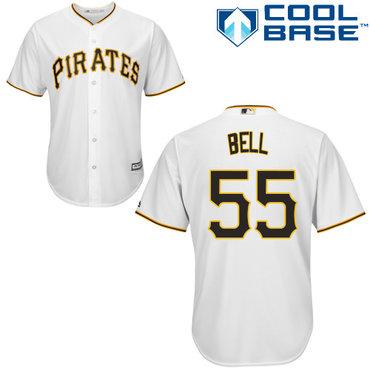 Pirates #55 Josh Bell White Cool Base Stitched Youth MLB Jersey
