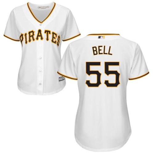 Pirates #55 Josh Bell White Home Women's Stitched MLB Jersey