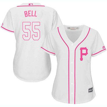 Pirates #55 Josh Bell White Pink Fashion Women's Stitched MLB Jersey