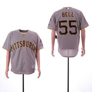 Pirates 55 Josh Bell Gray Cool Base Jersey