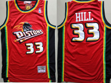 Pistons 33 Grant Hill Red Hardwood Classics Jersey