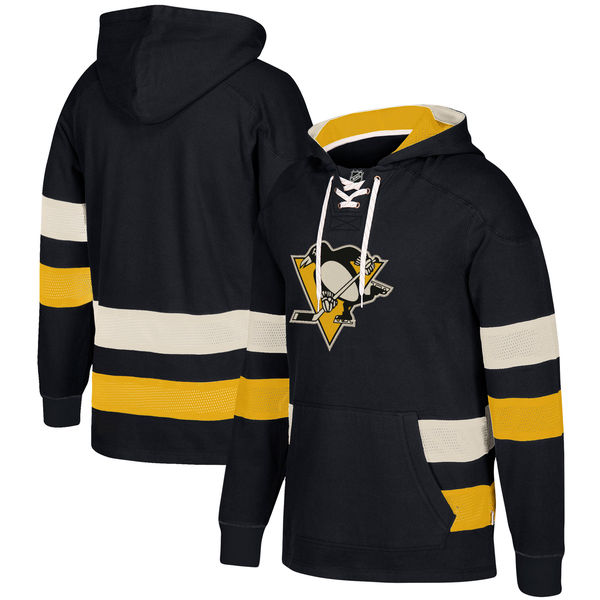 Pittsburgh Penguins Black Men's Customized All Stitched Hooded Sweatshirt