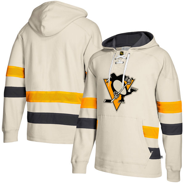 Pittsburgh Penguins Cream Men's Customized All Stitched Hooded Sweatshirt