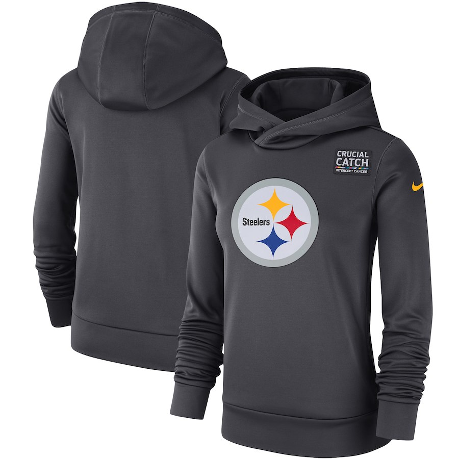 Pittsburgh Steelers Anthracite Women's Nike Crucial Catch Performance Hoodie