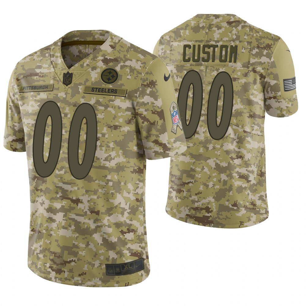 Pittsburgh Steelers Custom Camo 2018 Salute to Service Limited Jersey
