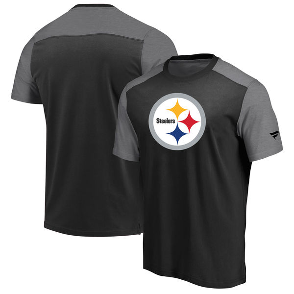Pittsburgh Steelers NFL Pro Line By Fanatics Branded Iconic Color Block T-Shirt BlackHeathered Gray