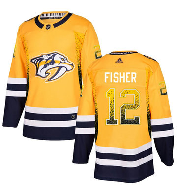 Predators 12 Mike Fisher Gold Drift Fashion Adidas Jersey