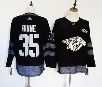 Predators 35 Pekka Rinne Black 1917-2017 100th Anniversary Adidas Jersey