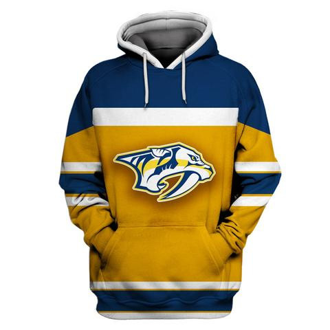Predators Gold All Stitched Hooded Sweatshirt