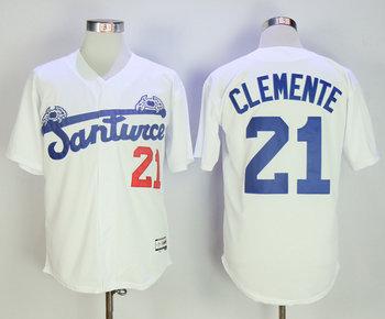 Puerto Rico Cangrejeros De Santurce 21 Roberto Clemente White Throwback Baseball Jersey